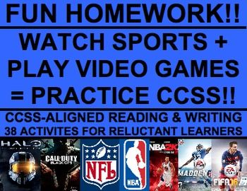 SUPERBOWL Homework!!  Engage Reluctant Readers: 38 NO PREP CCSS-aligned sports & video-game homework assignments! Practice every single reading literature standard PLUS informational, persuasive and narrative writing!! Your student will LOVE homework! #superbowlhomework