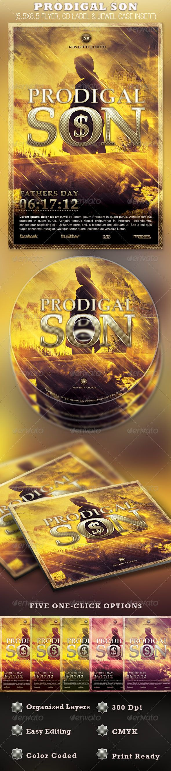 Prodigal Son Flyer and CD Template — Photoshop PSD #best flyer design #church template • Available here → https://graphicriver.net/item/prodigal-son-flyer-and-cd-template/2390405?ref=pxcr