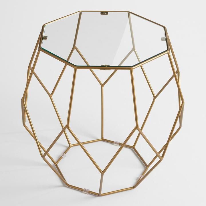 Antique Gold Faceted Accent Table with Glass Top