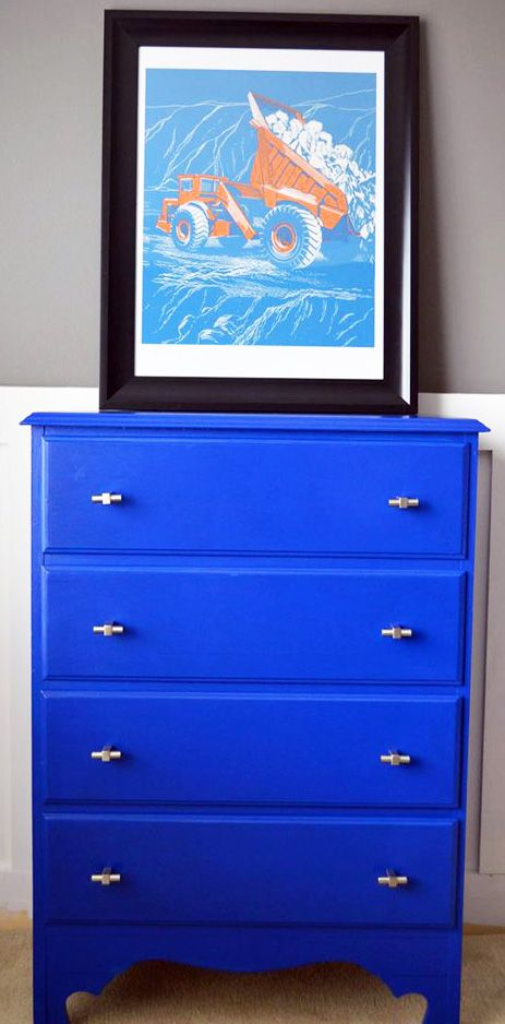 This bright and bold dresser was refinished by Shades of Chic. I thought Coral Crush was my new favorite. But now Klein Blue is my new favorite. So many fun colors, so little time.