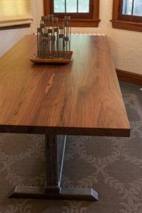 """Black walnut dining table with hand crafted steel base – 8′ L x 38 """" W made by Lakeside Metal and Wood"""