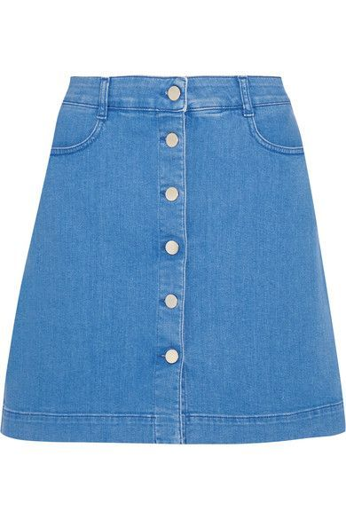 Blue stretch-denim Button fastenings through front 98% cotton, 2% elastane Dry clean Made in Italy