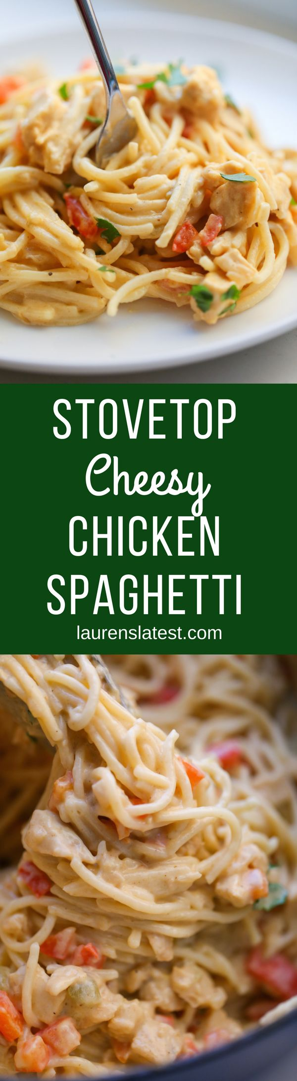 A stovetop version of the family favorite Cheesy Chicken Spaghetti that is quicker and just as tasty! Only one pot and a handful of ingredients needed for this delicious dinner.