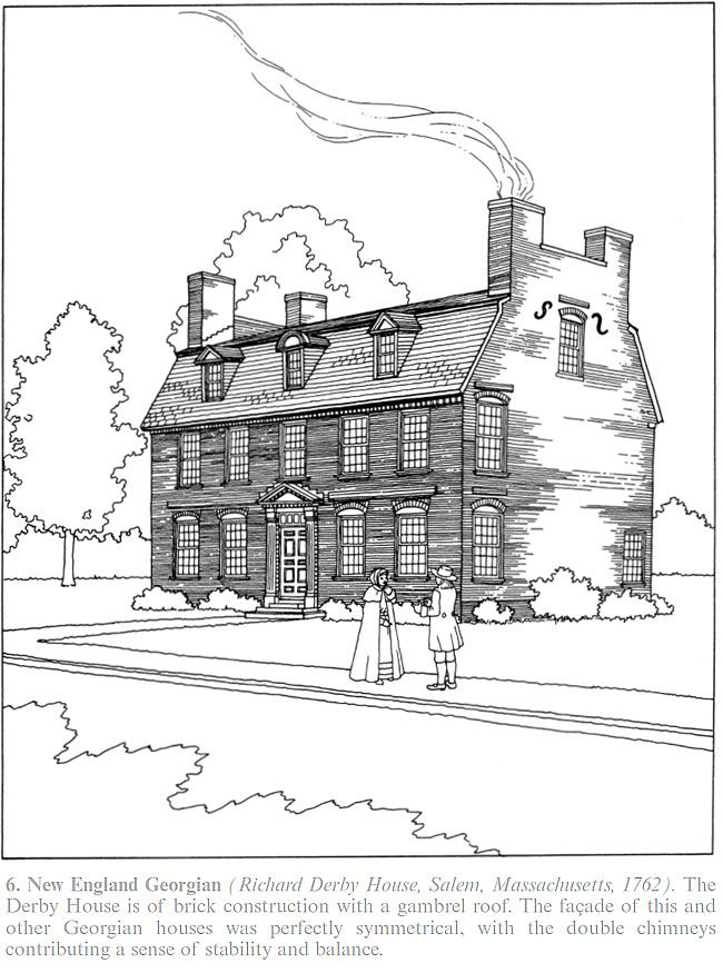 Creative Haven The American House Architecture Coloring Book By: A. New  England Georgian (Richard Derby House, Salem, Massachusetts,