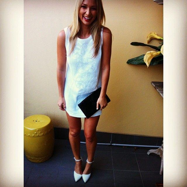 Anna Heinrich.. Bec & Bridge dress, Tony Bianco heels, with Loreal 'Red Passion' lips..