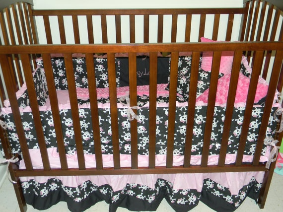 pink SKULL and Black baby Crib Bedding Set with Minky Dots and FREE Monograms. $249.00, via Etsy.