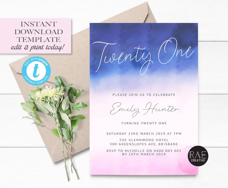 Ombre Watercolour 21st Invitation • Editable Template ...