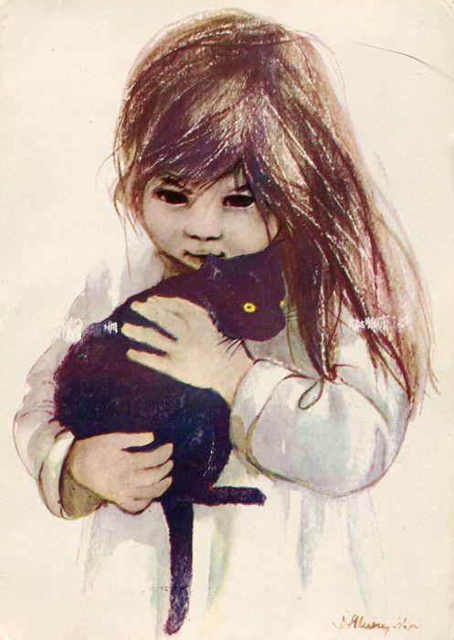 danuta muszynska   Girl with cat, Danuta Muszyńska-ZamorskaLovely vintage card from ...