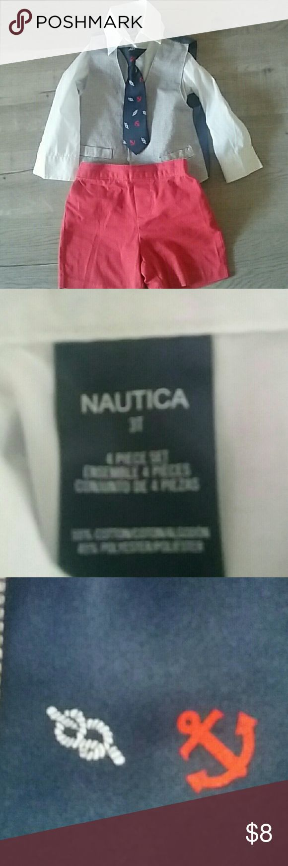 Nautica 4 piece suit Red shirts with white long sleeve shirt and blue and white vest with nautical tie Nautica Matching Sets