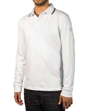 White Polo shirt with long sleeve and striped collar, 100% cotton.  This Polo shirt is characterized by a white stripe that crosses its front part. Grey and black stripes stand outside its collar and a black line goes inside. Finally, the white button holes and threads and a star on the sleeve are other remarkable details of this garment. http://www.tailor4less.com/en/collections/custom-polo-shirts/stylo/braco