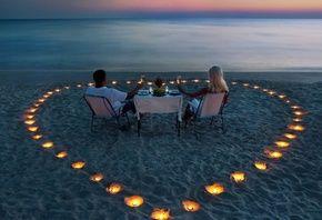 море, вечер, свечи, ужин, песок, романтика