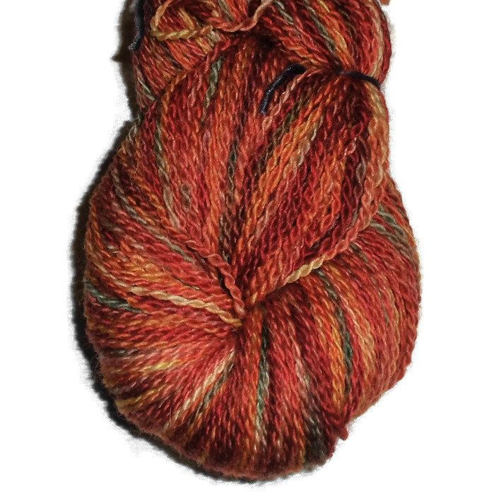"Hand Dyed Sock Yarn - Handdyed Bluefaced Leicester Wool 2-Ply - ""Lille September"" - Rust Sockyarn - Yellow - Green - Orange, EU SELLER"