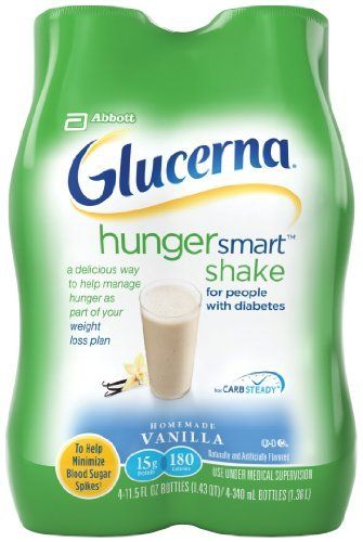 Glucerna Hunger Smart Shake, Vanilla, 4 Count by Glucerna. $8.99. From the makers of Glucerna, the leader in diabetes nutrition for more than 20 years, Glucerna Hunger Smart shakes and bars are a delicious way to help manage hunger as part of your weight loss plan. Glucerna Hunger Smart has Carbsteady, which includes slowly digestible carbohydrates designed to help minimize blood sugar spikes. Try a shake as part of your meal, or grab a bar for a delicious snack o...