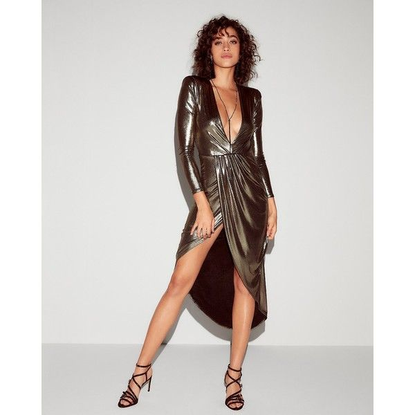 Express Metallic Asymmetrical Hem Maxi Dress ($54) ❤ liked on Polyvore featuring dresses, gowns, grey, long sleeve dress, sexy maxi dresses, hi low maxi dress, sexy evening dresses and high low gown