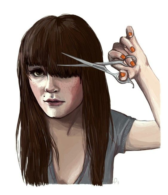 Cut // Brunette Trims her own Bangs by pauletrudelbellemare, $15.00: Art Illustrations, Drawings, Girl Fashion, Fashion Design, Hair Cut, Drawing Illustration, Haircut Needed, Fringe
