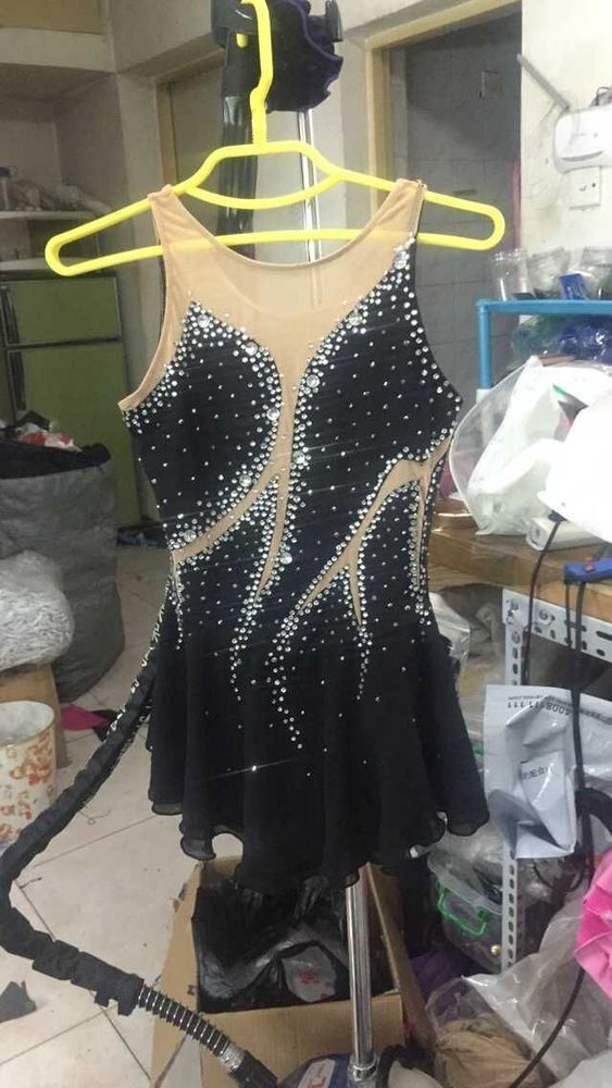 ice skating dresses black womans competition dress for figure custom clothes in Sporting Goods, Winter Sports, Ice Skating | eBay