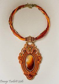 Orange turtle - Soutache. Point-to-point