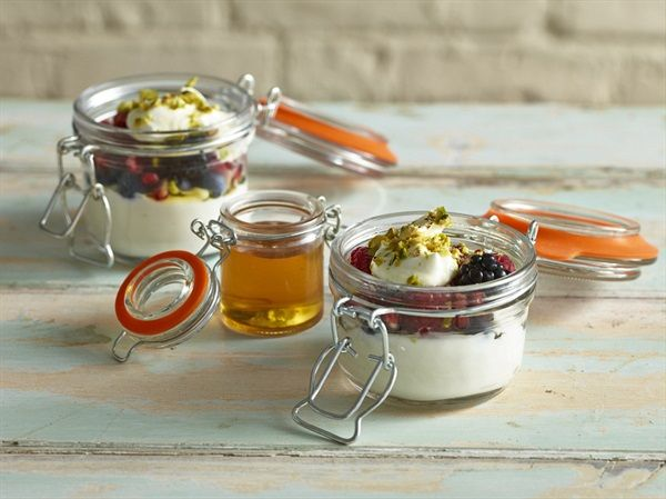 Terrine Jars are a new and inventive way of serving food or storing ingredients.  They have a rubber rim and secure clip, which forms an airtight seal. Helping to keep food fresher for longer.  Especially ideal for breakfast service!
