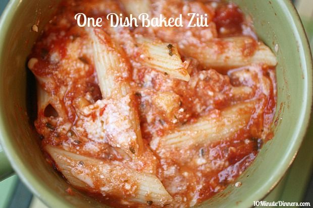 This delicious and easy One Dish Baked Ziti mixes up in ten Minutes and you don't have to cook the noodles first. Double the recipe. You will want extras. @10minutedinners