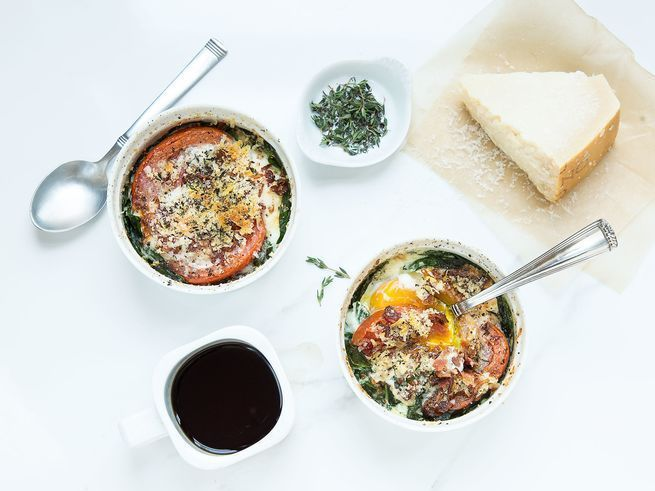 Baked eggs (sometimes called shirred eggs) are a simple, hearty breakfast or brunch, easily assembled when cooking for a crowd.
