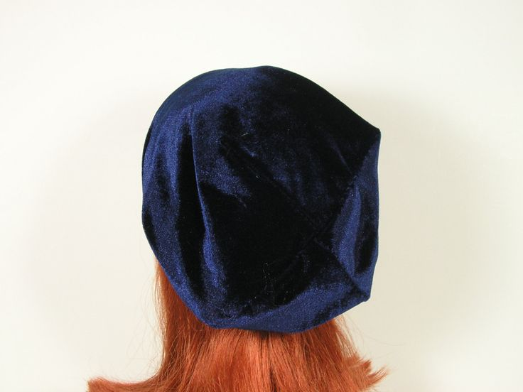 Boho Blue Velvet Slouch Hat Velvet Slouchy Beanie Blue Velvet All Seasons Headgear All Seasons Slouchy Beanies Blue Slouchy Bohemian Beanie