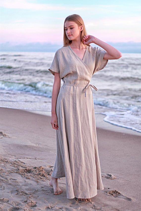 wrap maxi dress delilah natural linen dress linen kimono etsy