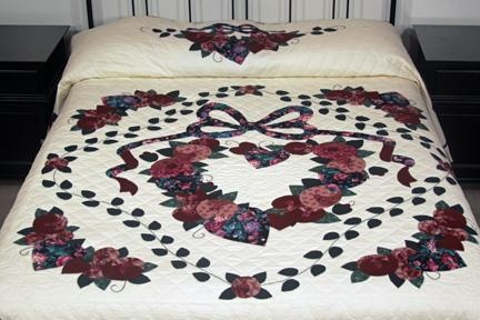Country Love Burgundy Green And Pink Amish Quilt For Sale