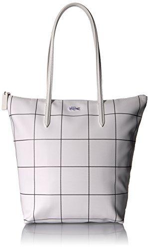 Lacoste Women's L.12.12 Concept Fantaisie Vertical Shopping Bag, White Square