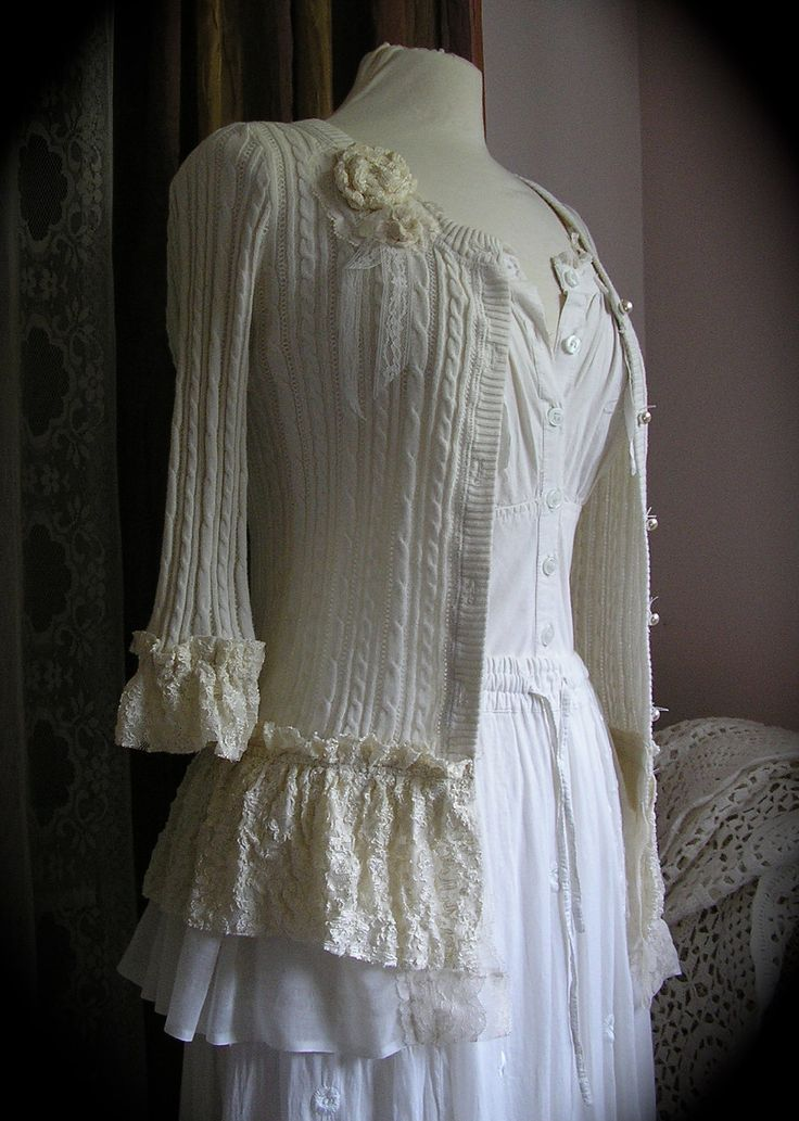 update a sweater by adding lace and rosettes ~ Ruffled Lace Sweater creme altered couture by TatteredDelicates. via Etsy.