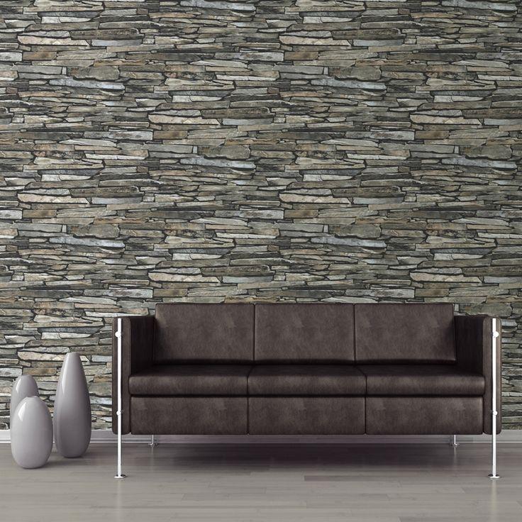 Muriva Slate Wall Pattern Faux Effect Rustic Stone Motif Vinyl Wallpaper J87209