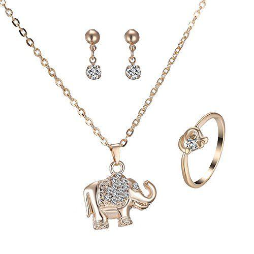 Femmes Plaqué Argent Cristal Strass Éléphant Collier Pendentif Charme Jewelry