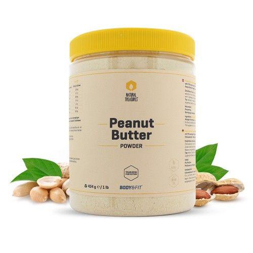 """Natural Pindakaas poeder met alle smakelijke voordelen, 85% minder calorieën, 140% meer eiwitten en zout- en suikervrij vergeleken met normale pindakaas! Heerlijk op de boterham, cracker of door een shake of smoothie. Vrij van kunstmatige smaken, zoetstoffen of conserveermiddel.    140% meer eiwitten dan """"normale"""" pindakaas  75% minder vet dan vergelijkbare pindakaas  Zout- en suiker vrij  Ook heerlijk door je shake, kwark of smoothie"""