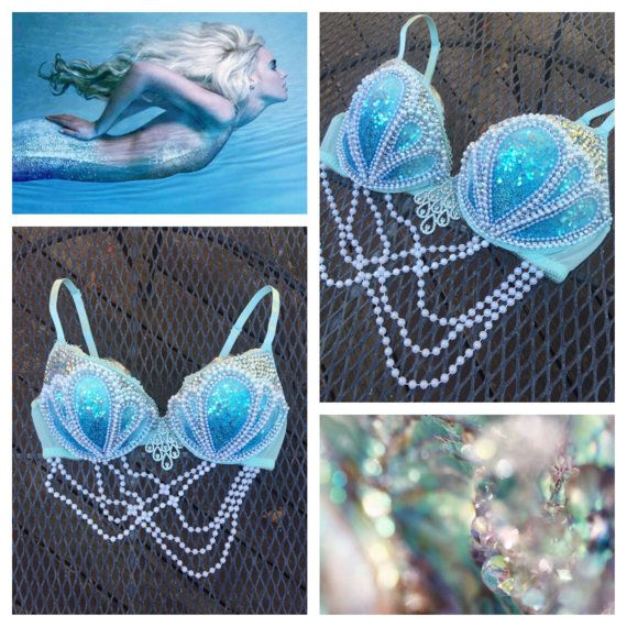 Blue Dream Mermaid Bra  Made to Order in by whythecagedbirdsingz