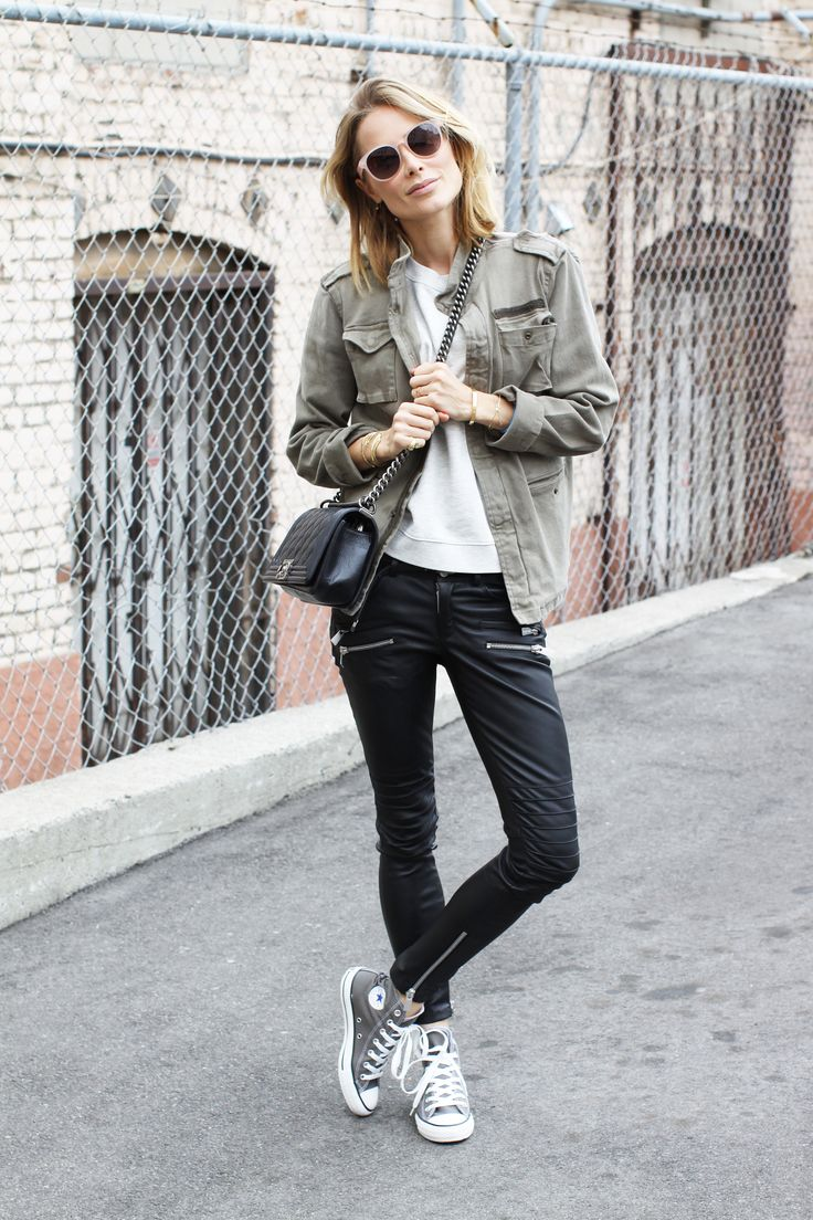 Anine Bing army jacket, Sincerily Jules sweater, leather pants, converse