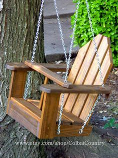 Kids Wooden Swing.  Hang on a beautiful tree limb, on your porch, or on an old swing set!