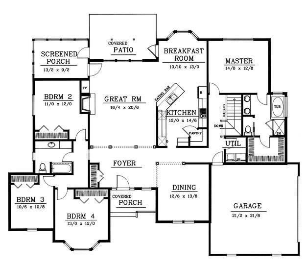Rambler Open Floor Plans: Rambler Floor Plan, 4 Bedrooms