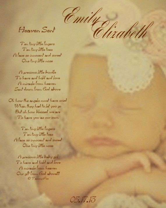 Baby Gift Poem : Heaven sent poem personalized baby gift by