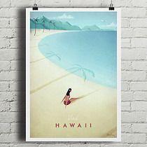 Hawaje - vintage plakat, dodatki - plakaty, ilustracje, obrazy - grafiki i ilustracje