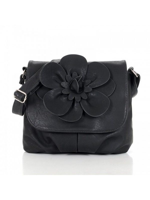 JULIA SHOULDER CROSSBODY BAG WITH FLOWER ON FRONT