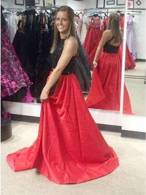 e2500b3a12 Two Piece Jewel Open Back Sweep Train Red Satin Prom Dress with Sequins
