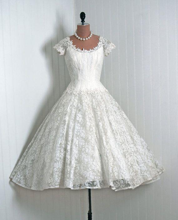E is fo Elegant, Priscilla of Boston 1950's Wedding Dress