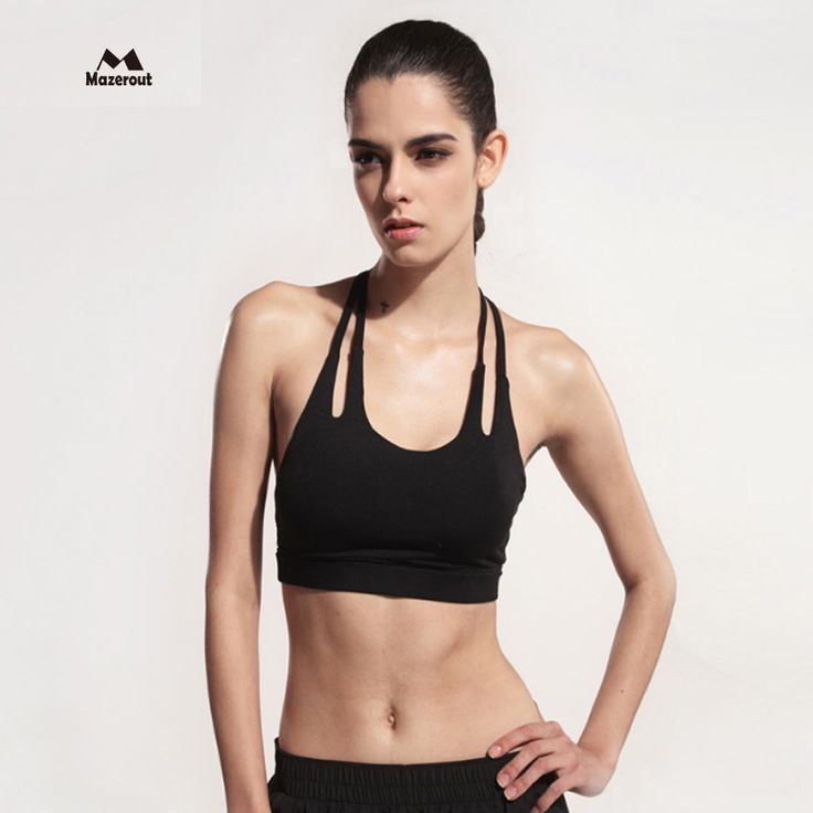 MAZEROUT Women Sexy Running Strap Yoga Gym Vest Elastic Sport Bra Padded Sports Waistcoat Female Tops Plus size Fitness Bike B5