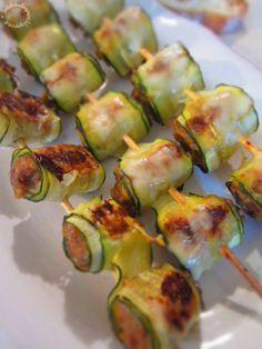Antipasti di saltimbocca di zucchine ripiene di carne