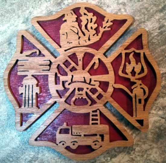 Fireman's Cross Scroll Plaque by fromthewoodpile on Etsy, $25.00 firefighter kids room