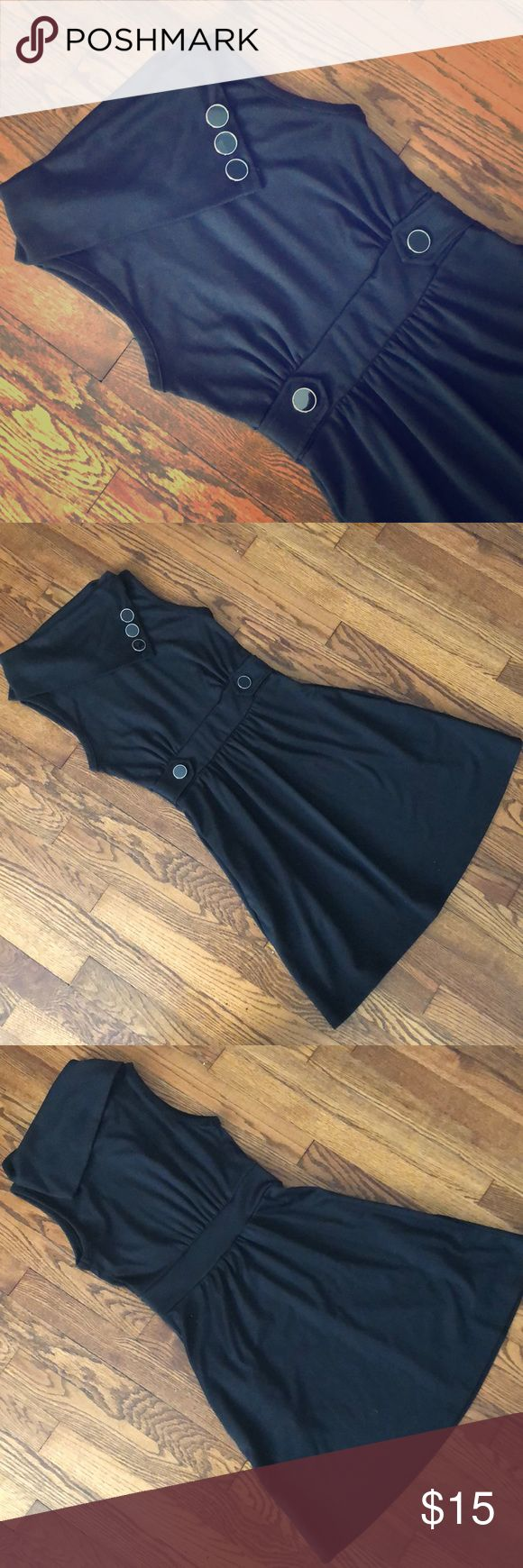 ModCloth Coach Tour A-Line Dress Black vintage-inspired dress from ModCloth. A-line, comfortable and stretchy jersey material, machine washable, runs true to size. Good length for work, especially with tights (I'm 5'5, for reference) Monteau Dresses