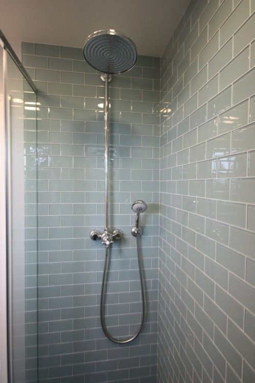 Using gray glass subway tiles in hall bath :)