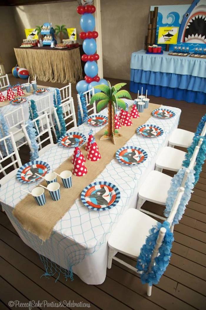 Shark themed birthday party via Kara's Party Ideas KarasPartyIdeas.com Printables, cake, decor, tutorials, recipes, etc! #sharks #sharkparty (3)