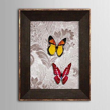 omlijst 3d kunst kunst aan de muur, dier 3d vlinders 3d poster op gesatineerd papier met bruine ps kader - EUR € 58.17
