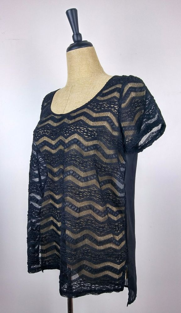 Torrid Womens Sheer Black Lace Short Sleeve Top Size 00 #Torrid #Blouse