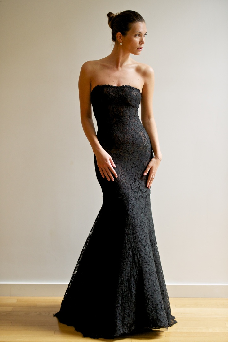 Black lace gown without the removable skirt...Love this lace gown on its own!